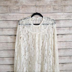 UO Kimchi Blue White Lace Trapeze Dress